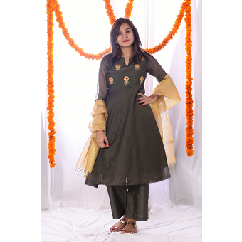 Sage Green Chanderi Embroidery Suit Set with Golden Dupatta